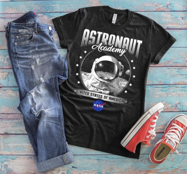 Astronaut Academy Shirt, Vintage NASA Patch Tshirt, Astronaut Helmet, Outer Space Travel, Astronomy Shirt, Spaceship Tee, Womens Graphic Tee