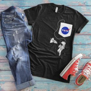NASA Patch Fake Pocket Shirt Astronaut In Outer Space image 0