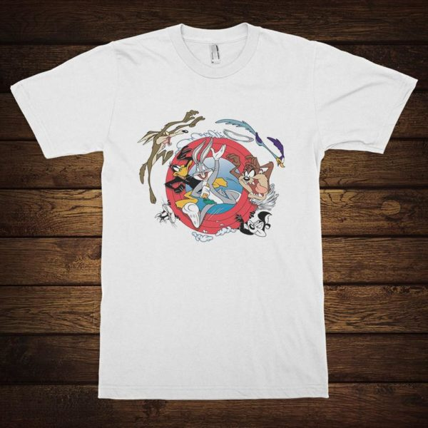 Looney Tunes Cartoons T-Shirt Bugs Bunny Daffy Duck Pepe Le White