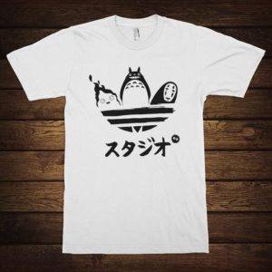 Studio Ghibli Movies Funny T-Shirt Calcifer Totoro No Face White