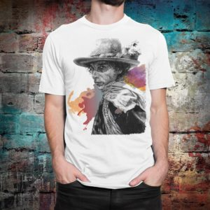 Bob Dylan Art T-Shirt Men's Women's Cotton Tee White