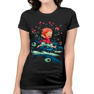 Ponyo On The Cliff By The Sea T-Shirt Studio Ghibli Tee image 0