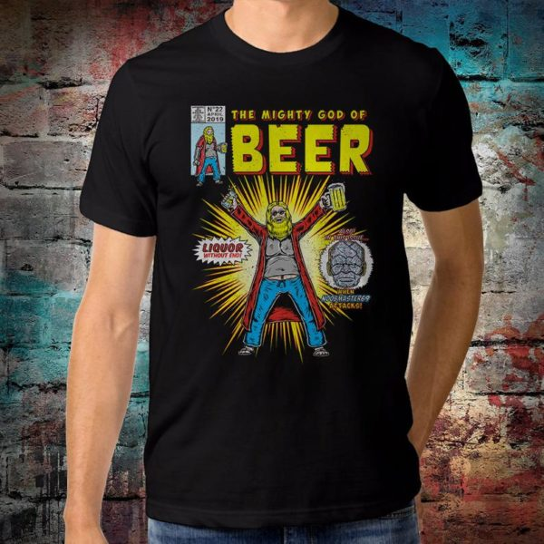 Thor Mighty God of Beer Funny T-Shirt Avengers Endgame Tee image 0