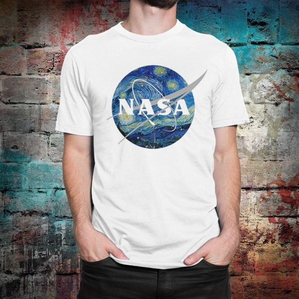 NASA Van Gogh Starry Night T-Shirt Men's Women's White