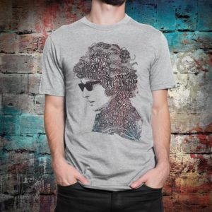 Bob Dylan Revised T-Shirt Men's Women's Cotton Tee Gray