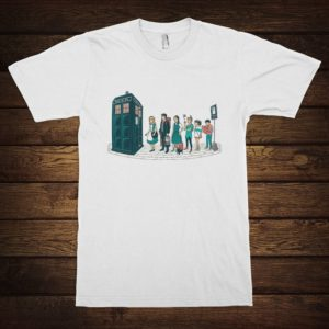 Doctor Who TARDIS Stop Funny T-Shirt Alice in Wonderland White