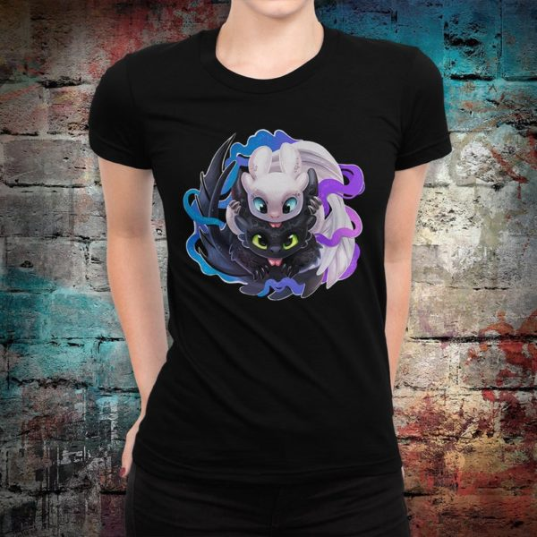 Toothless and Light Fury Cute T-Shirt How to Train Your image 0
