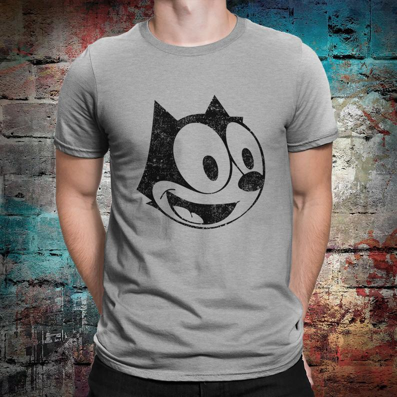 Felix the Cat Vintage T-Shirt Men's Women's Cotton Gray
