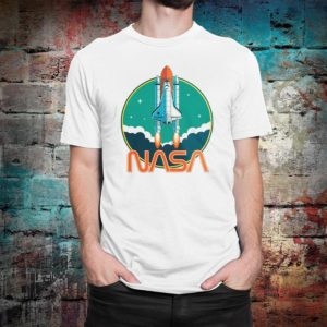 NASA Space Graphic T-Shirt Men's Women's Cotton Tee White