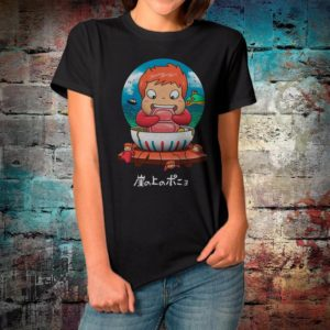 Ponyo on the Cliff by the Sea T-Shirt Studio Ghibli Movie image 0