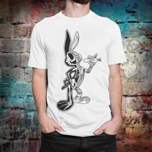 Anatomical Bugs Bunny Funny T-Shirt Looney Tunes Tee White