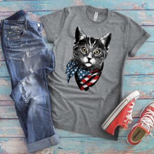 American Flag Cat T-Shirt Cute Kitty Lover Gift Retro image 0