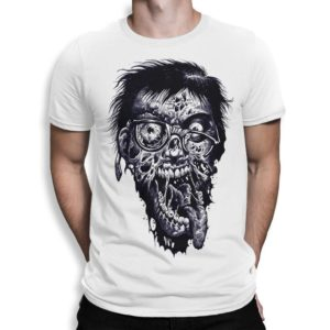 Zombie Face Art T-Shirt Men's Women's All Sizes White