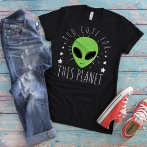 Cute Alien Shirt Womens T-Shirt Alien Gifts UFO Retro image 0