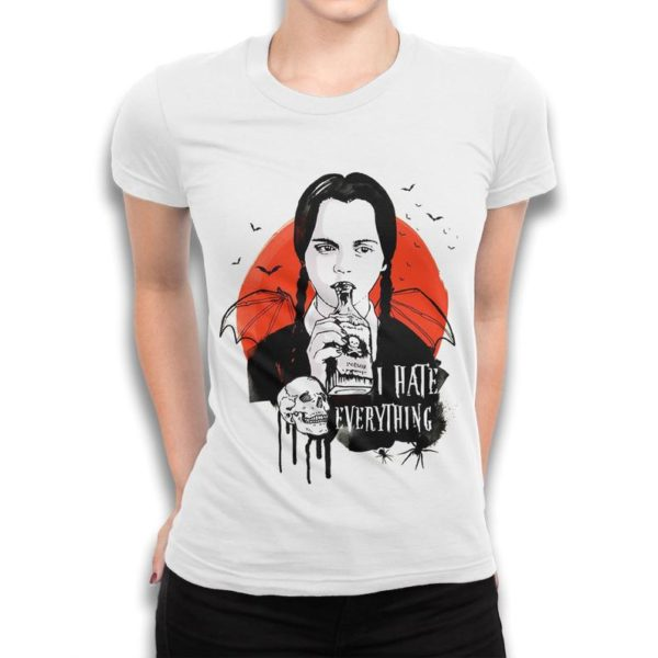 Wednesday Addams I Hate Everything T-Shirt The Addams Family White