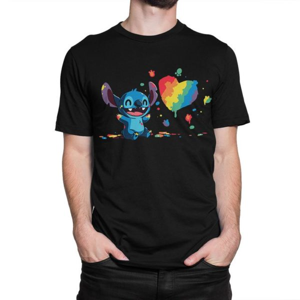 Stitch Plays With Paints T-Shirt Lilo and Stitch Tee image 0