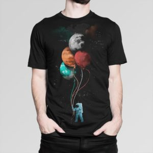 Spaceman With Planets Shaped Balloons T-Shirt Men's image 0