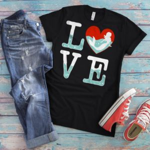 Love Mermaids Shirt Womens Graphic Tee Vintage Tshirt Girls image 0