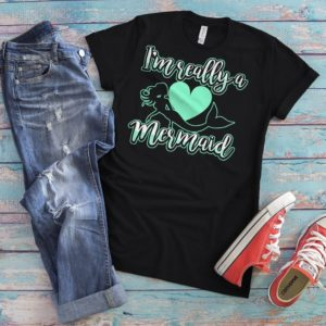 I'm Really A Mermaid Shirt T-Shirt Vintage Cute Beach image 0