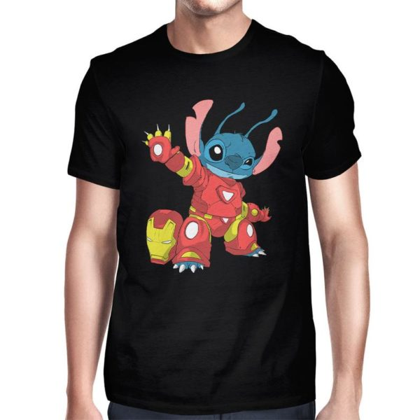 Stitch In An Iron Man Costume Funny T-Shirt Men's image 0