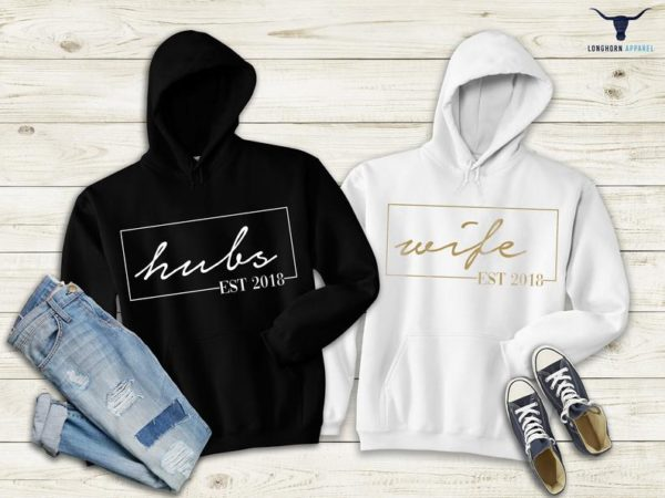 Hubs and Wife Hoodie Honeymoon Outfits Couple Matching image 0