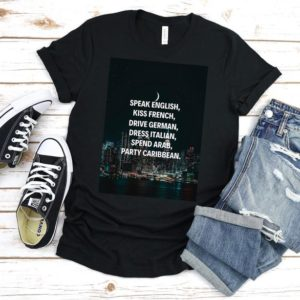 Inspirational Quote T-Shirt New York City Skyscraper Graphic Solid Black Blend