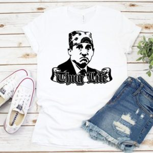 Funny Thug Life Michael Scott T-Shirt The Office Prison Mike Solid White Blend
