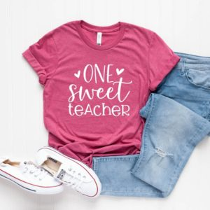 One Sweet Teacher Shirt  Valentine's Day Gift for Teacher image 0