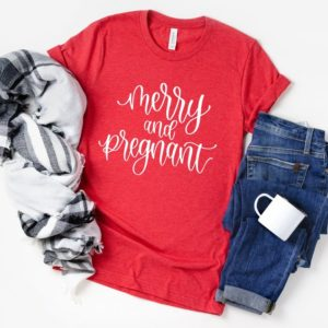 Merry and Pregnant Shirt  Christmas Pregnancy Shirt  Holiday image 0