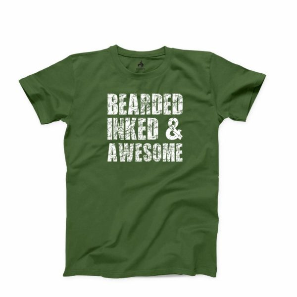 Bearded Inked and Awesome T Shirt Beard Men T-shirt Valentines Gift Tee Inked Tattooed Tshirt