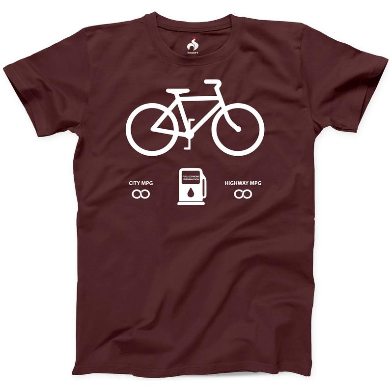 Bicycle Fuel Economy Tshirt 100% Cotton New Mens Funny Bikes image 0