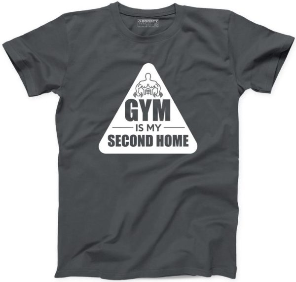 Gym Is My Second Home Tshirt 100% Cotton New Mens Womens Fitness Training Work Tee