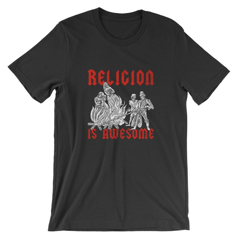 Religion Is Awesome T-Shirt  Sarcastic Funny Witch Burning image 0