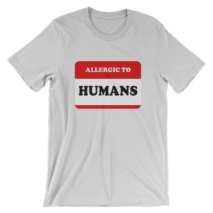 Allergic To Humans T-Shirt  Funny Introvert Shirt  Mens image 0