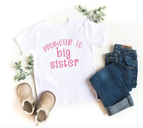 Promoted To Big Sister T-shirt – Toddler – Youth – Gift for Big Sister – Baby Announcement Shirt
