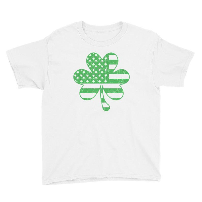 Youth St. Patrick's Day Clover American Flag T-Shirt image 0