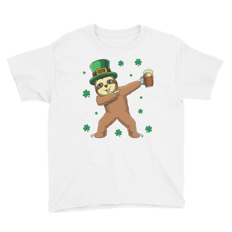 Youth Dabbing St. Patrick's Day Sloth T-Shirt Shirt image 0