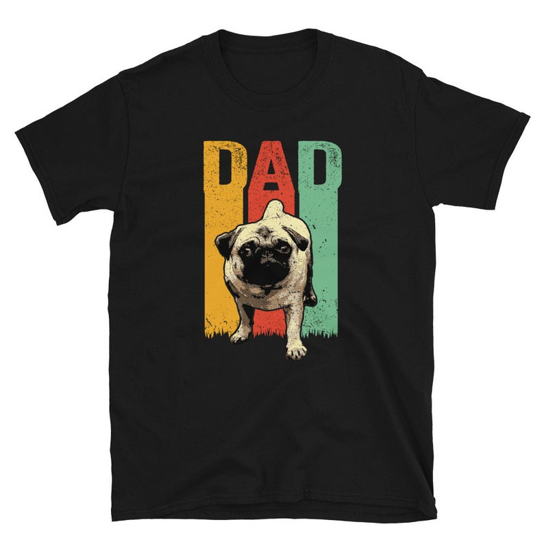 Cute Retro Pug Dog Dad T Shirt  Cool Pugs Puppy Dogs Lover  image 0