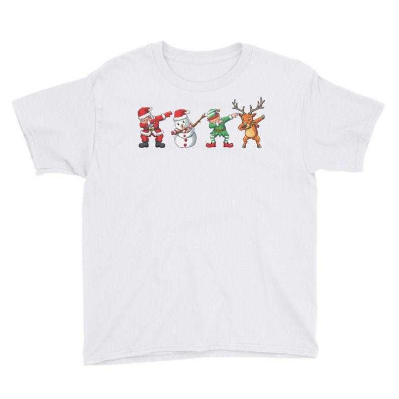 Kid's Dabbing Santa Friends Christmas T-Shirt, Christmas, Holiday, Winter, December, Snowman, Elf, Dab, Cool, Funny, Cute, Reindeer, Gift