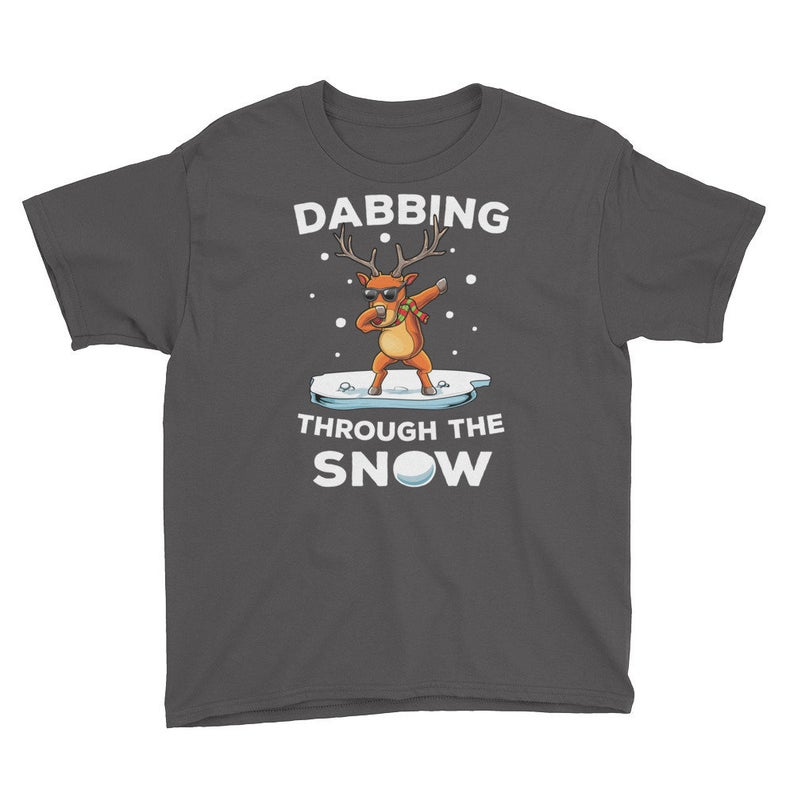 Kid's Funny Dabbing Reindeer T-Shirt, Christmas, Gift, Reindeer, Sleigh, Winter, December, Holiday, Dab, Dabbing, Snow,