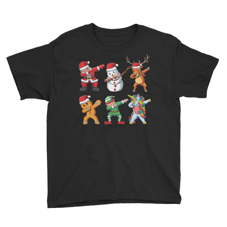 Child's Christmas Dabbing Santa and Unicorn T-Shirt, Santa Claus, X Mas, Holiday, Snowman, Elf, Reindeer, Gingerbread Man, Cute XMas Gift