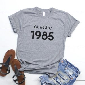 Classic 1985 shirt 35th birthday gifts for her best friend Gray / black print
