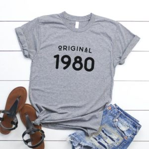 40th birthday gifts for women 1980 t shirt graphic tees for Gray / black print