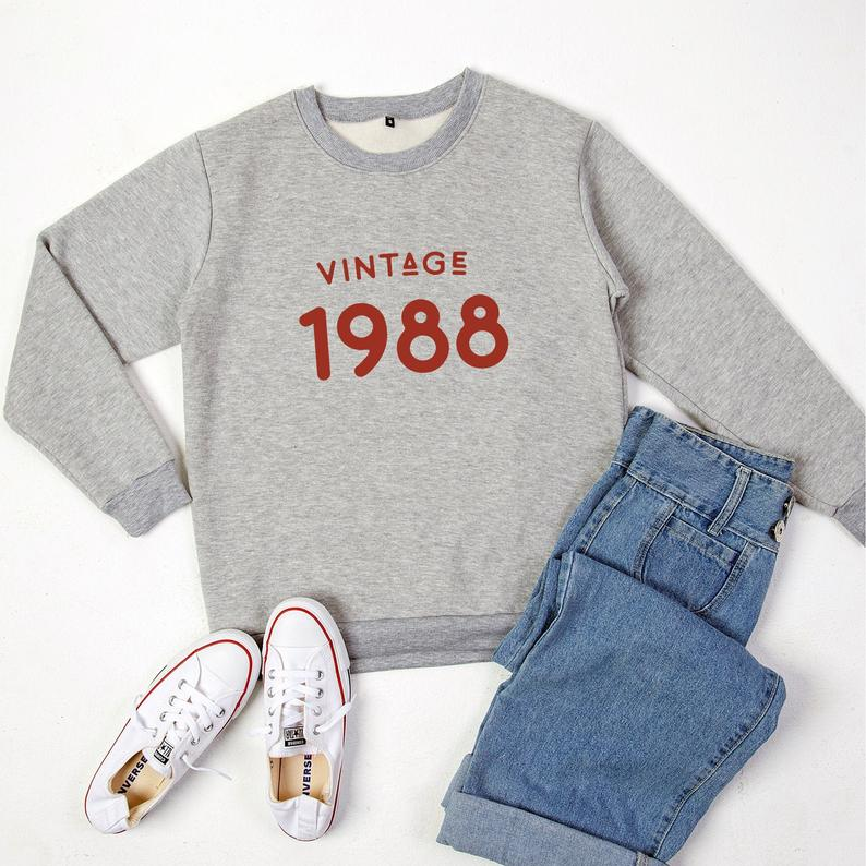 32nd birthday shirt for womens sweaters pullover sweatshirts Grey / red print