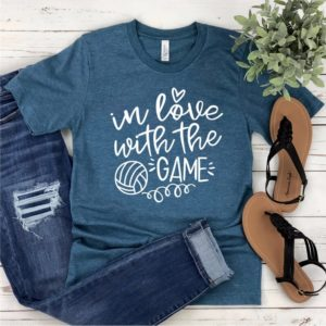 Volleyball T-Shirt  In Love With The Game  Volleyball Mom image 0