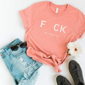 All I Need is U Funny T-Shirt T Shirt with sayings Tumblr Peach / white print