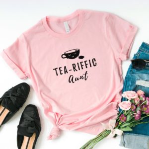 Aunt shirt gift for her funny tshirt women with sayings Pink / black print