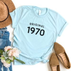 50th birthday gift for women 1970 tshirts graphic tees for Blue / black print
