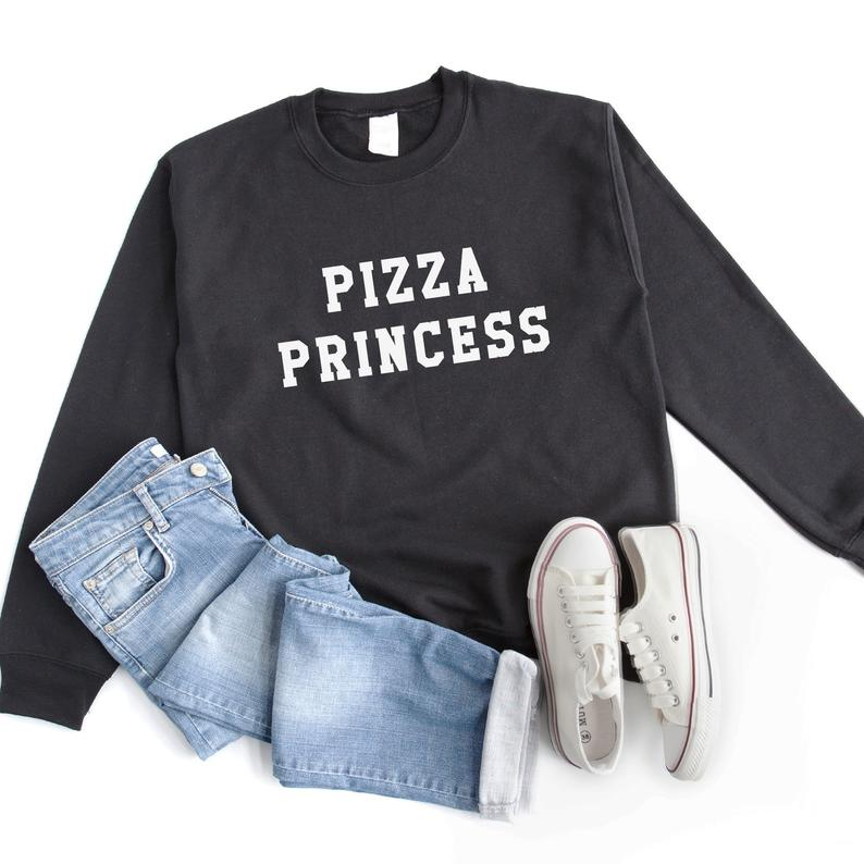 Pizza princess graphic sweatshirt womens sweater jumper funny Black