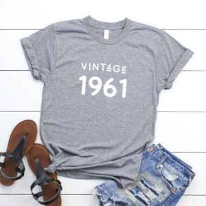 59th birthday gift for womens graphic tees vintage 1961 Gray / white print